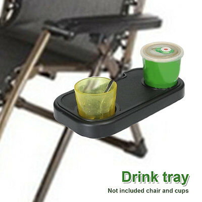 New Clip-On Beach Chair Side Desk Table Tray 2 Cup Drink Beverage Holder Stand
