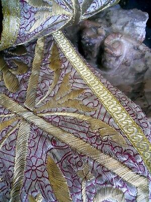 Other  2 French Antique Fragment Silver Gold  Metallic Embroidery  18Th-Century