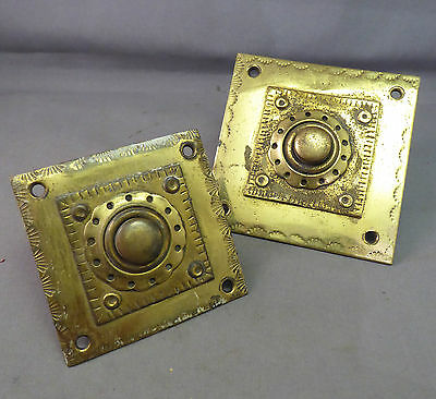 Two Antique Arts & Crafts Door Bell in Brass - early 20th century Bell Push