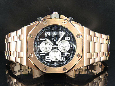 Men's Solid Rose Gold Finish Steel Black Dial Chronograph Watch