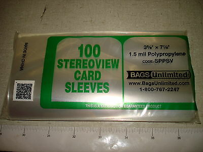 100 Polypro STEREOVIEW Card Archival Protective Sleeves 1.5 mil