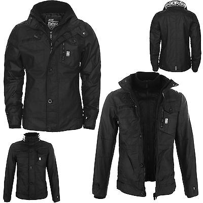 New Mens Full Zip Warm Crosshatch Jacket Padded Double Layer Button Winter Coat