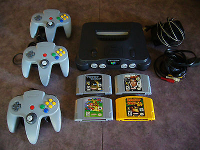 Nintendo 64 n64 console lot with 4x games 3x controller donkey kong mario 64