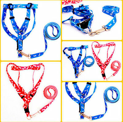 Small Dog Pet Puppy Cat Adjustable Nylon Harness with Lead leash Colors