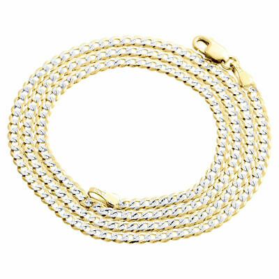"""Real 10K Yellow Gold Solid Diamond Cut Cuban Link Chain 2.50mm Necklace 16""""-26"""""""