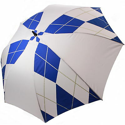 "60"" Single Canopy Golf Umbrella White + Blue Diamond 1 Button Open Semi Auto New"