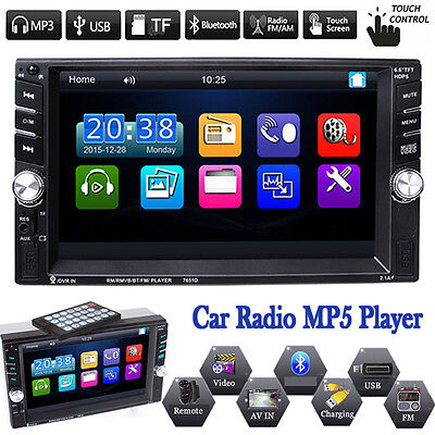 "6.6"" Double 2 DIN Car In Dash Stereo MP3 MP5 Player Touch Screen Bluetooth Radio"