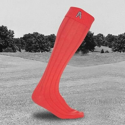 Royal & Awesome One Pair Men's Knee Length Plus 2 Golf Socks Bright Red 7-11 New