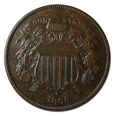 1868 Two 2 Cent Coin Piece Lot # A 1865