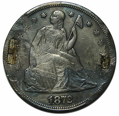 1872 Damaged Seated Liberty Silver Dollar $1 Coin Lot # A 1868
