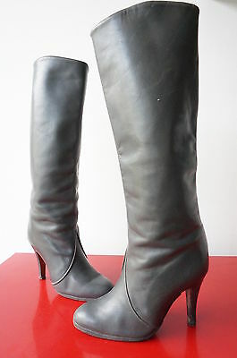 Bottes Boots Cuir LEATHER T 37 vINtaGE vtg 70 SEventies PreppY RETRO hIPPY Chic