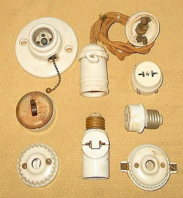 + Mixed Lot Genuine Porcelain Lamp Socket Adapters Switch Pull Chain Vintage
