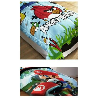 nEw VIDEO GAMES BED COMFORTER - Angry Birds Super Mario Bedding Cover Blanket