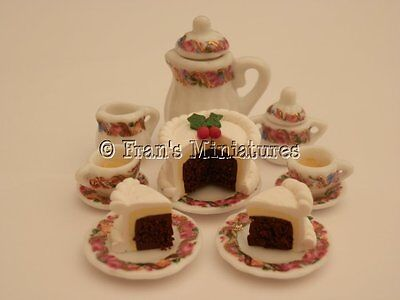 Dolls house food: Tea & Christmas cake for two -By Fran