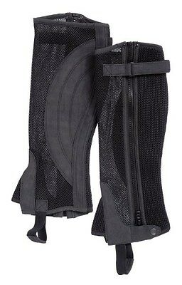 English Riding Half Chaps - Breathable Synthetic Suede - Black - S,M,L,XL
