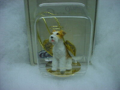 WIRE HAIRED FOX TERRIER dog ANGEL Ornament Figurine Statue NEW Christmas puppy
