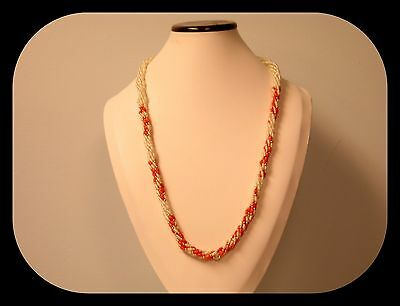 """Vintage Heavy Twisted Multi Strand Faux Coral & Pearl 30"""" NECKLACE 73GR"""