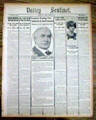 4 1923 newspapers PRESIDENT WARREN G HARDING DEAD Calvin Coolidge now President