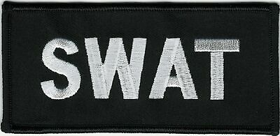 "2"" x 4 1/2"" Black White SWAT Patch VELCRO® BRAND Hook Fastener Compatible"