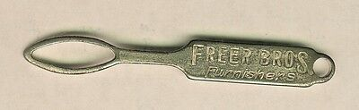Vintage Advertising Shoe Button Loop Hook Freer Bros. Furnishers