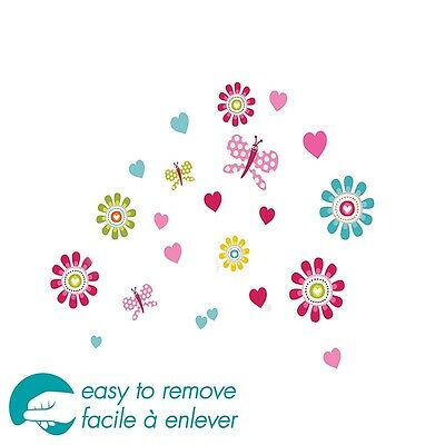 South Shore Joy Flowers Ottograff Wall Decals Set, Pink and Blue