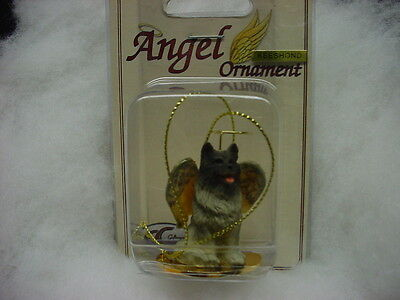 KEESHOND Dog ANGEL Ornament HAND PAINTED Resin Figurine NEW Christmas puppy