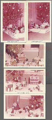 Lot of 5 Vintage Snapshot Photos Winter Village Decoration Christmas Tree 715880