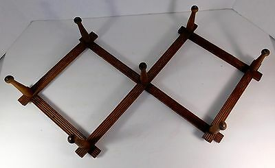 Antique Folding 7 Shaker Pegs, Brass Tips, Wooden Wall Mounted Hat Rack