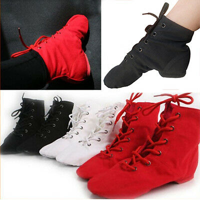 Men Women Boy Girl Canvas Jazz Shoes Ballet Dance Shoes Split Heels Sole Gym