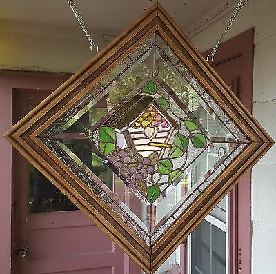 Stained Glass Window Art Panel Sun Catcher Bird House Flower Tiffany Style