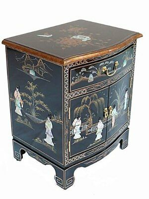 Black Lacquered Furniture With Mother Of Pearl Oriental Bedside Cabinet