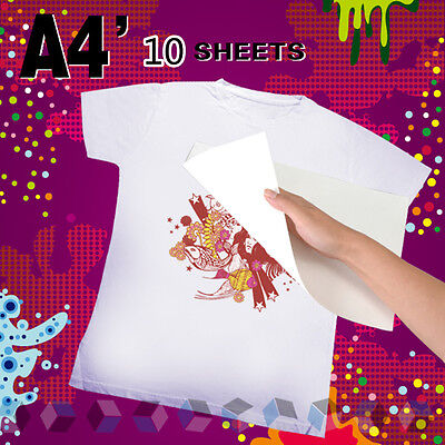 10 x A4 Iron-On Inkjet Print Heat Transfer Paper For Fabric Cloth T-Shirt & Cup