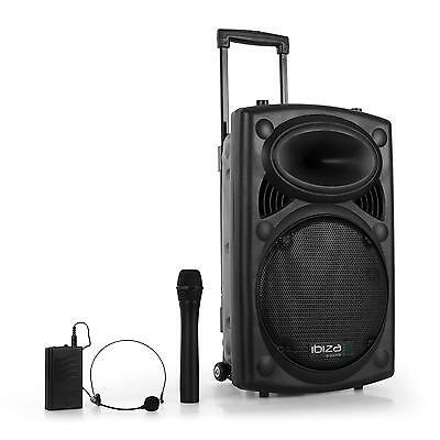 "Sono Portable Ibiza Port12Vhf-Bt Enceinte Active Bluetooth Dj Pa 12"" Usb Sd 350W"