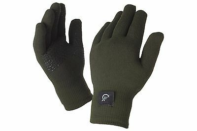 Leeda Sealskinz NEW Carp Fishing Thermal Ultra Grip Green Gloves *All Sizes*