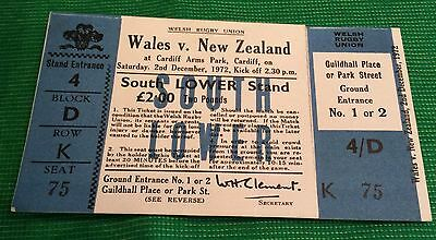 Rare Rugby Complete match ticket Wales v New Zealand December 1972