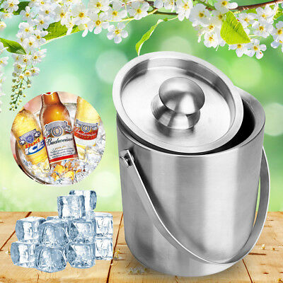 2L Large Double Walled Stainless Steel Insulated Ice Bucket With Lid Drain Tongs