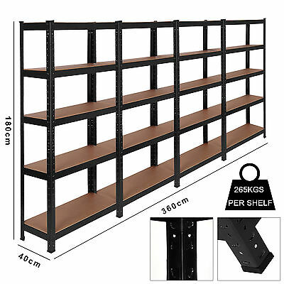 4 Racking Bays 5Tier Garage Shelving Unit Storage Racks Heavy Duty Steel Shelves