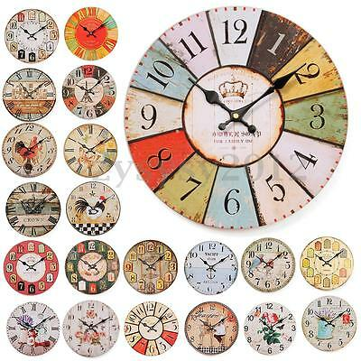 UK Wooden Wall Clock Shabby Chic Rustic Kitchen Home Antique Style Decoration