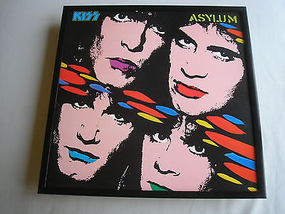 KISS Asylum LP cover framed for wall mounting black/silver/walnut