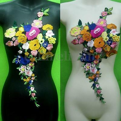 New Motif Rose Flower Collar Badge Embroidered Sew on Patch Applique Bust Dress