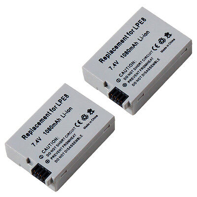 2x Accu Battery for Canon EOS 550 550D 600D 650D 700D BG-E8 / LP-E8 Batteria