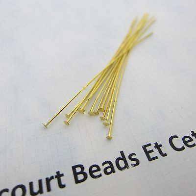 "200 Gold Plated Brass 2"" (50.8mm) Headpins - 24GA - Flexible and Easy to Use"