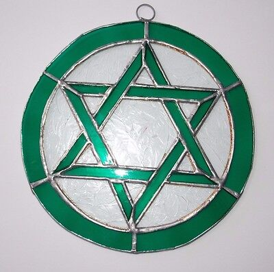 Leaded Stained Glass Round Sun Catcher Green Star of David  Hanging :