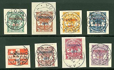 SG 90/7 Samoa ½d-2/6 set of 8. Superb used, each on small piece CAT £150