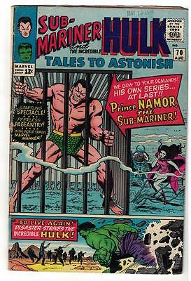 Marvel TALES TO ASTONISH 70   HULK SUB MARINER VGF