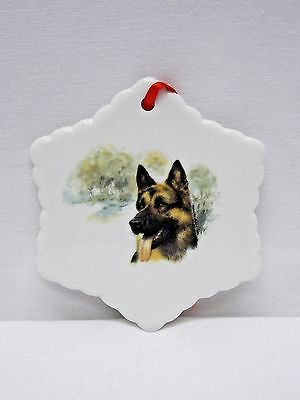 German Shepherd Dog 3In Snowflake Xmas Tree Ornament Porcelain Fired Decal-L