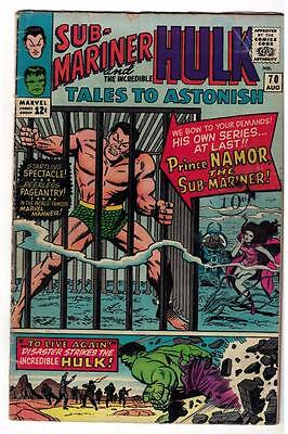 Marvel TALES TO ASTONISH 70   HULK SUB MARINER VG