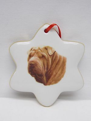 Shar Pei Dog Porcelain Snowflake Christmas Tree Ornament Fired Head Decal