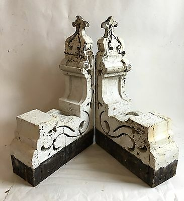 1890's Antique Pair(2) Wood Corbels Brackets Victorian Gingerbread Chic White B6