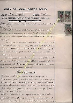 1913 IRELAND EDVII LAND REGISTRY PERFIN CANCELLED stamps on TITLE DEED Doc.